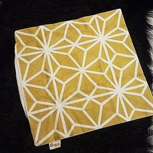 Yellow & White Square Pillow Case Cushion Cover